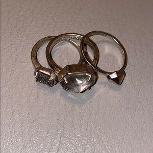 Kendra Scott 3 Ring Set - Silver/Platinum Drusy